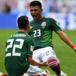 Celebración del gol de los jugadores de México